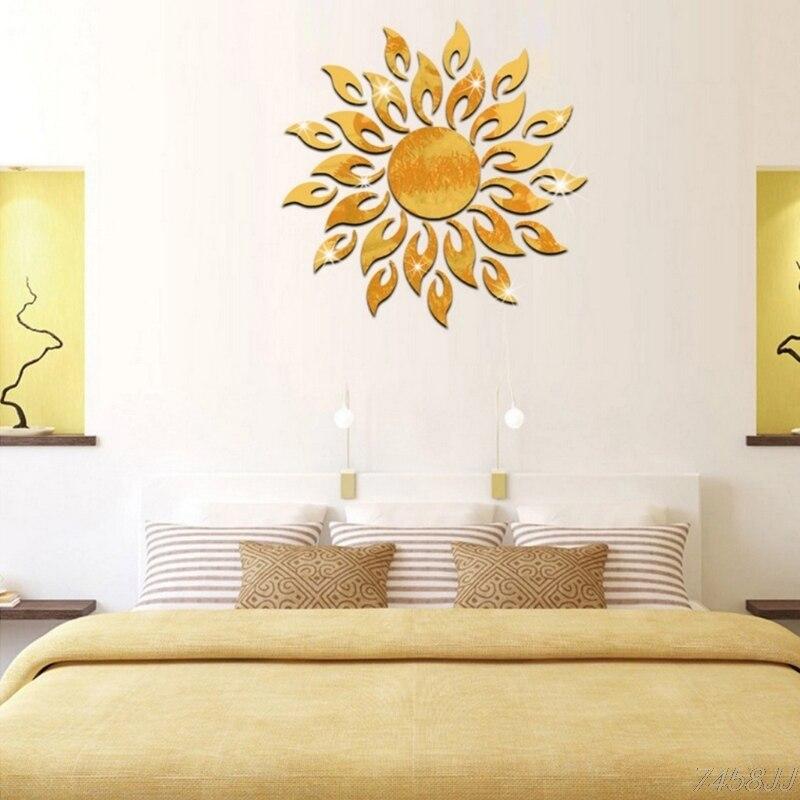 Diy 3d Sparkly Sun Mirror Wall Sticker Acrylic Mural Decal