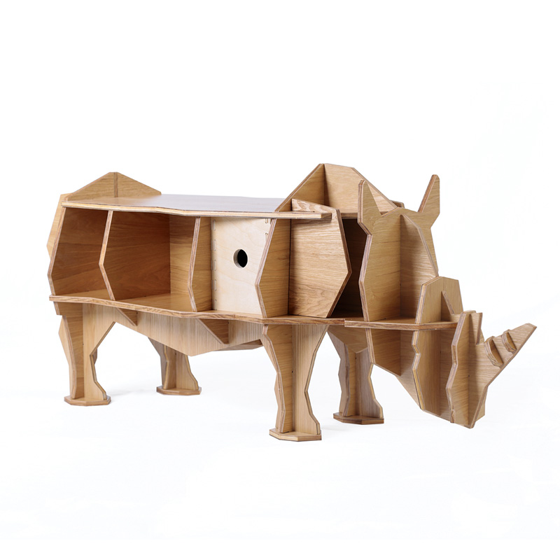 L size 3D rhino coffee table plywood furniture self-build puzzle furniture factory wholesale european style rhino wood coffee table desk craft gift desk self build puzzle furniture free shipping
