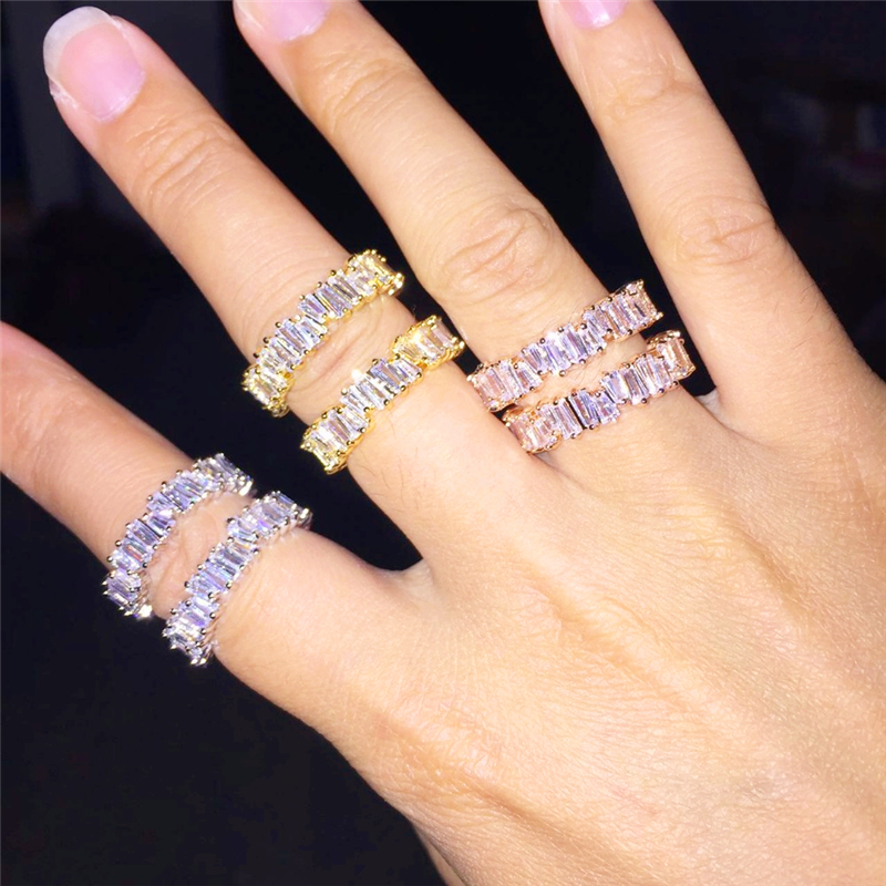 Engagement Handmade White Trapezoid Stone Rings For Women Fashion Finger Accessories Anel Wedding Band Thin Baguette T Ring
