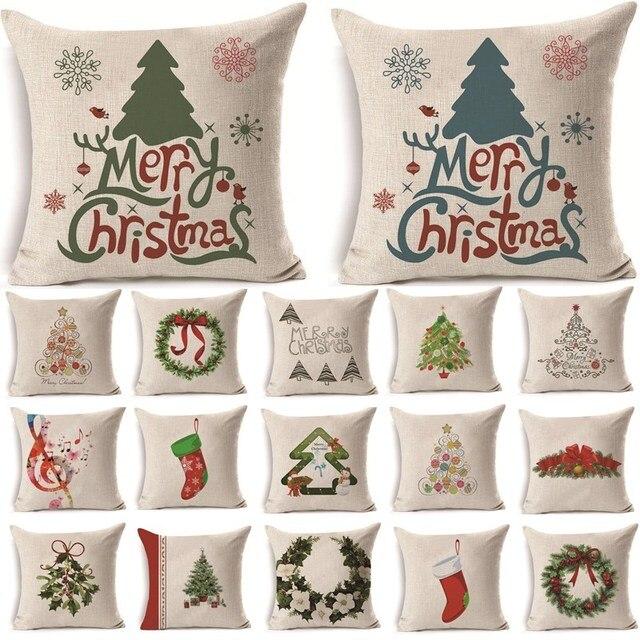 1 Pz 43*43 cm Albero Di Natale Pupazzo di Neve Modello Cotone Lino Throw Pillow
