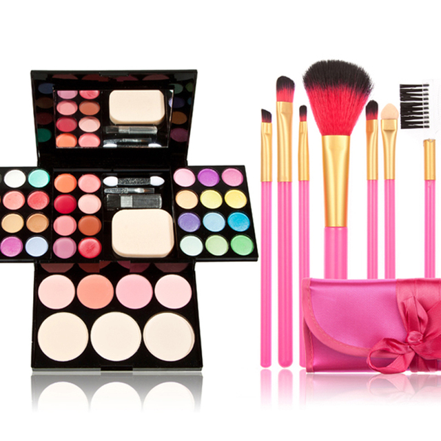 Makeup Set Eyeshadow Pallet Eyeshadow Makeup Palette Kit Powder Blusher Cosmetic Lipstick Tools 7 Make UP Brushes  FE#8