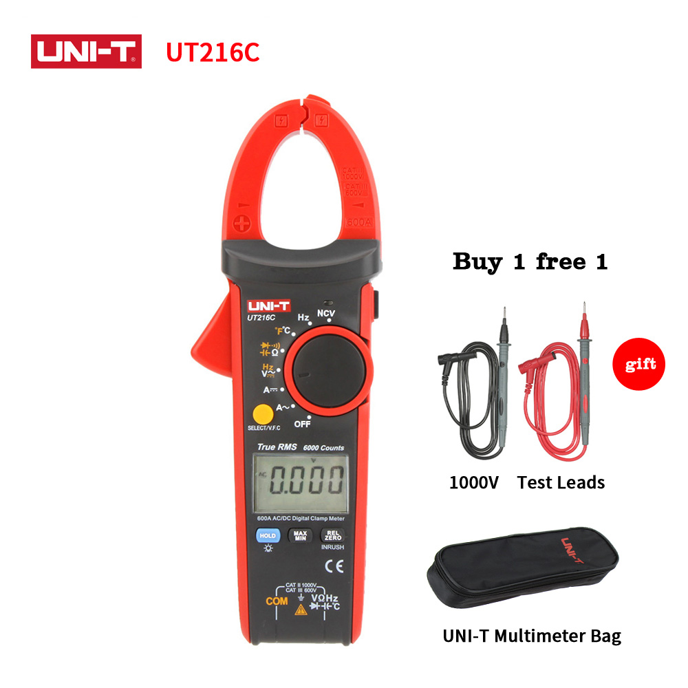 UNI-T UT216C 600A True RMS Digital Clamp Meters Auto Range Multimeter DMM Frequency Capacitance Temperature NCV Test Meter коврики в салон novline fiat 500 хэтчбек 2008 текстильные подложка стандарт 4 шт nlt 15 12 11 110kh