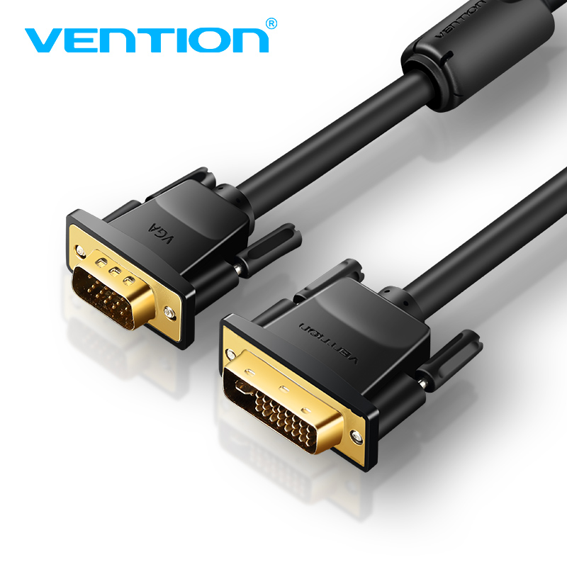 Vention 1080P DVI to VGA Cable DVI-I 24+5 to VGA Converter Digital Video Cable 1m 2m 5m 10m for Projector Laptop Monitor HDTV vention dvi cable dvi d 24 1 cable dvi to dvi cable male to male video cable 3m 1m 2m for computer projector laptop tv monitor