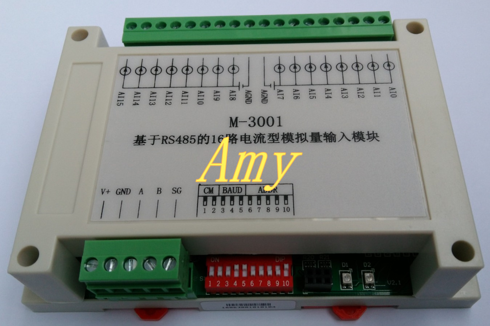 Module d'extension PLC RS485 bus communication ADC carte d'acquisition 16 module d'entrée analogique AI
