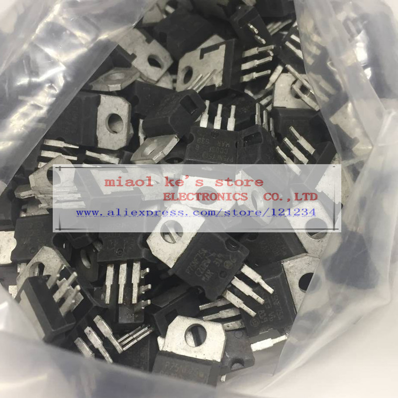 [ original used ] 50pcs/1lot : STP75NF75 STP75N75 <font><b>P75NF75</b></font> 75NF75 75N75 - MOSFET N-Channel 75V 80A 300W TO-220-3(TO-220AB) image