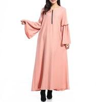 Мусульманское Для женщин с длинным рукавом длинное платье Мусульманская одежда Кафтан женская обувь на застежке-молнии Flare рукавом Абаи Ха...