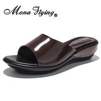 Mona Flying Women's Genuine Leather Wedge Heel Slide Sandals Casual Summer Sandals Slippers for Women 877 13