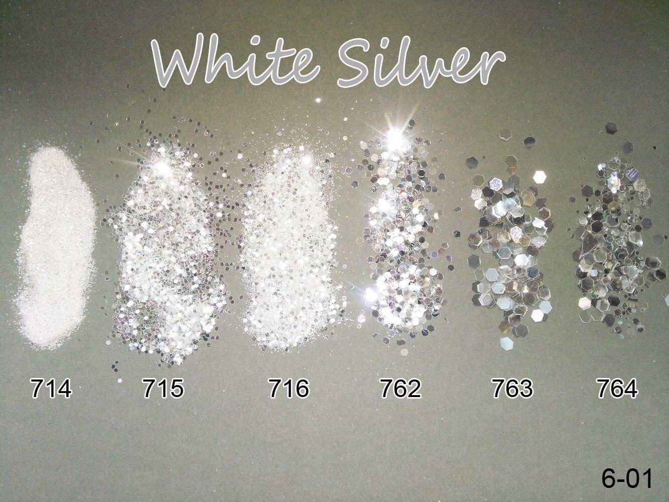 Nail 1 Jar/Box 10ml  White Silver Mix Nail Glitter Powder Sequins Powder 1mm&2mm&3mm Nail Art Glitter Colors For Gel Polish 6-01