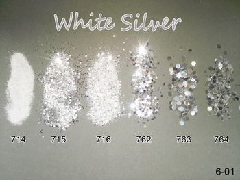 Nail 1 Jar/Box 10ml  White Silver Mix Glitter Powder Sequins 1mm&2mm&3mm Art Colors for Gel Polish 6-01