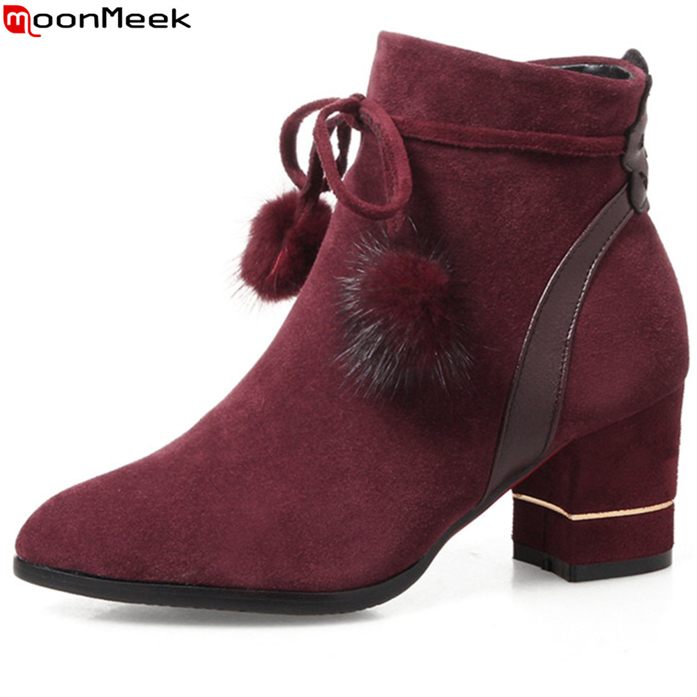 MoonMeek hot sale new arrive women boots pointed toe black wine red gray ladies boots cross tied square heel ankle boots zipper