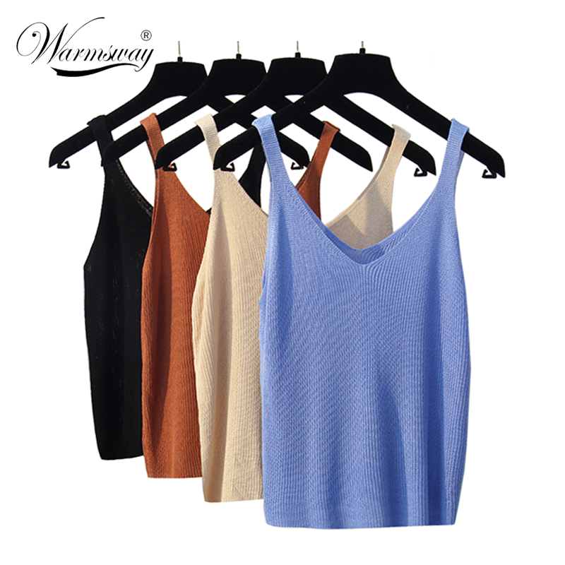 New knitted Tank Tops Women Summer Camisole Vest simple Loose Ladies V Neck Sexy Strappy Tank Tops A-034