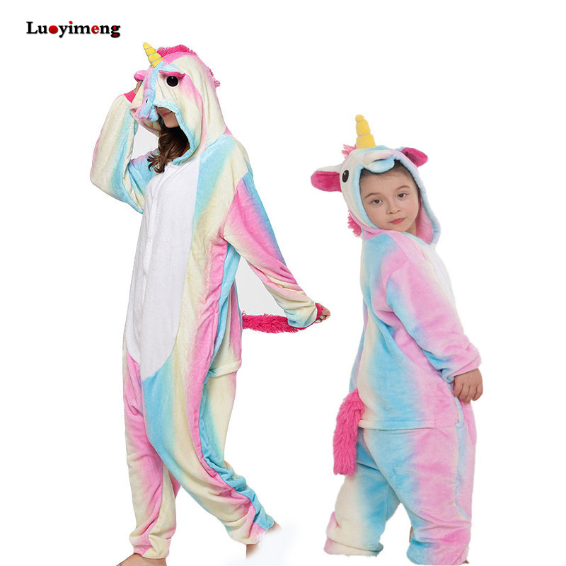 New Baby Rainbow Unicorn Onesie Kigurumi Pijamas Winter Animal Cartoon Boy Girl Pyjamas Kids Cosplay   Pajama     Set   Women Sleepwear