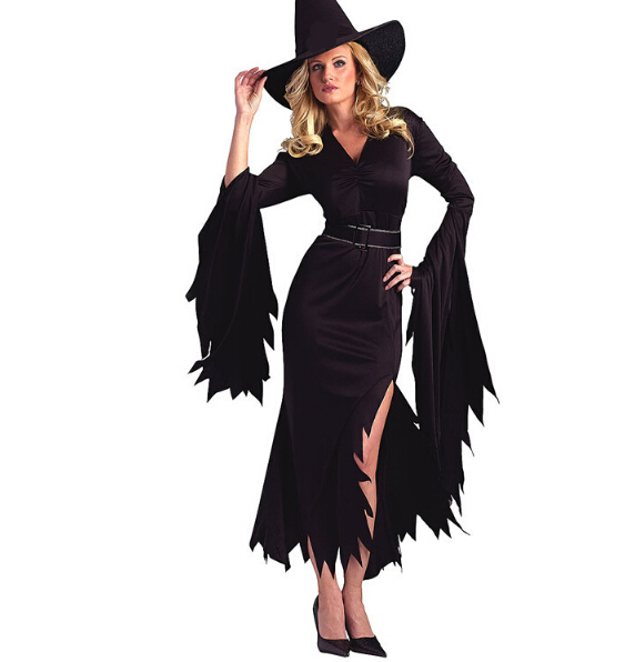 Carnival party Halloween vampire costume cosplay sexy black red dress+hat+belt Evil clothing queen Ds costumes nightclub uniform