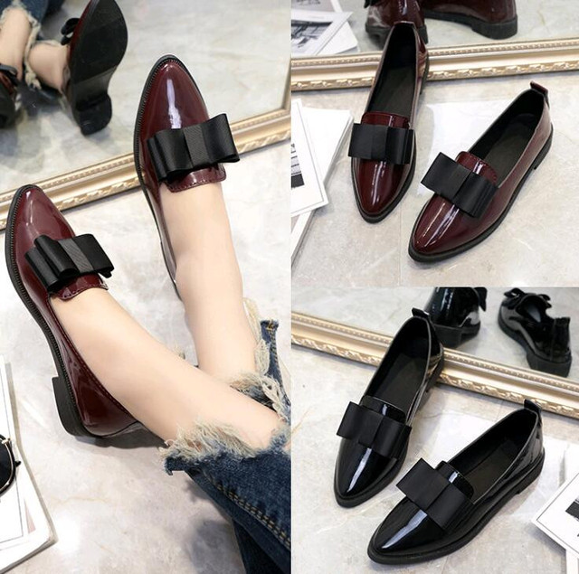 2019 Shoes Woman Leather Pointed Toe Bow Shoes Women Low Heel Loafers  Cowhide Spring Casual Shoes Women 6428b2655aeb