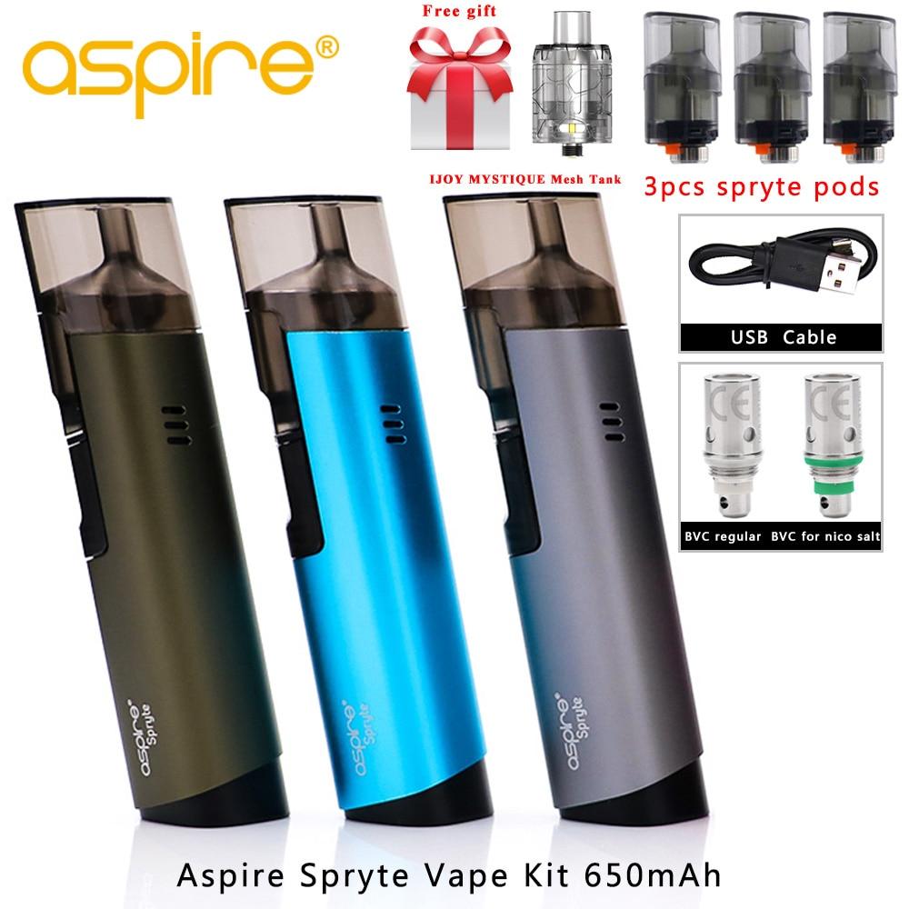 In Lager 2018 neueste aspire pod Aspire Spryte Vape Kit Integrierte 650 mah Batterie 3,5 ml/2,0 ml Pod kapazität Vaporizador E zigaretten