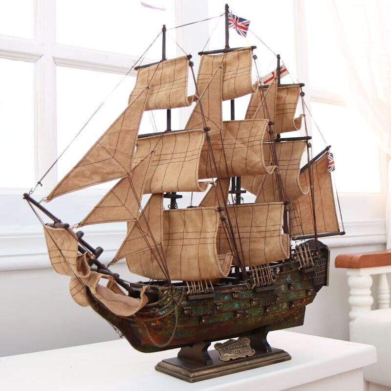 Vintage bateau à voile modèle assemblé ornements 60 cm en bois massif artisanat navire en bois bateau manuel modèle européen artisanat accessoires