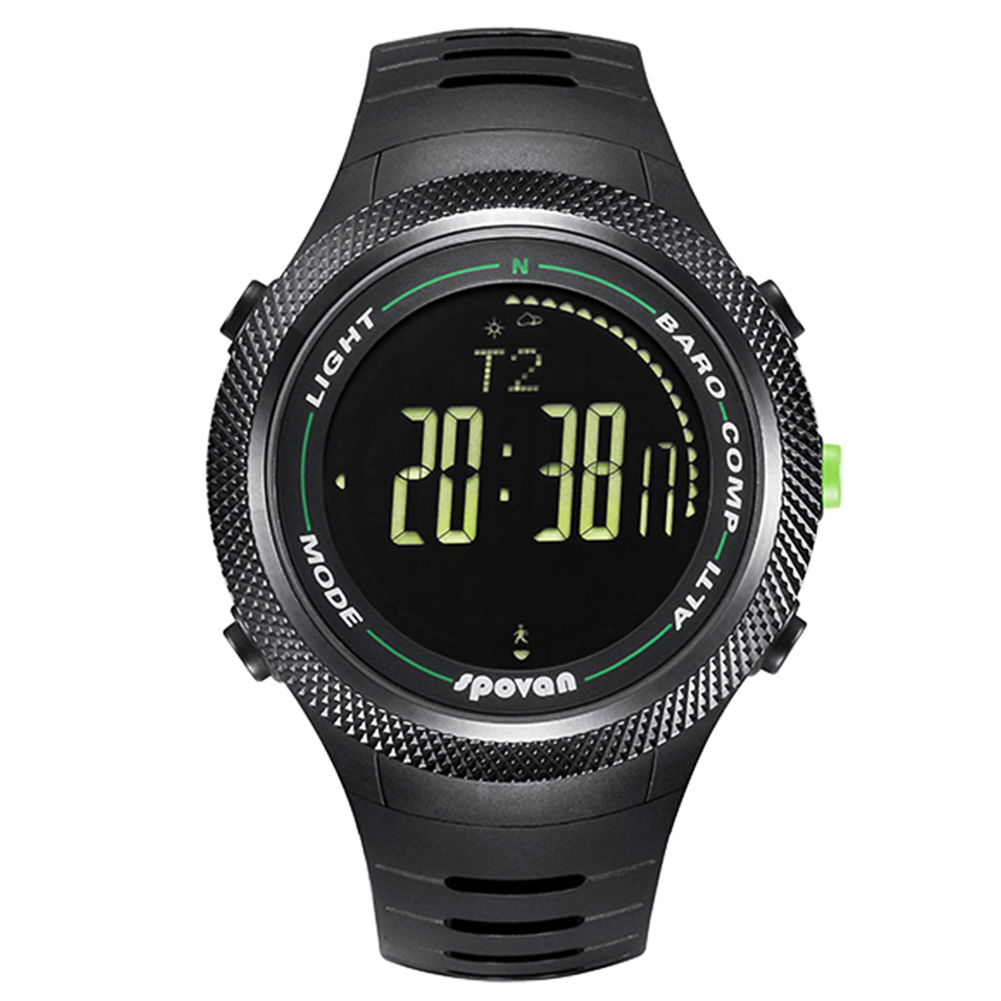 Spovan new innovative unisex sport watch barometer compass pedometer digital watch Black