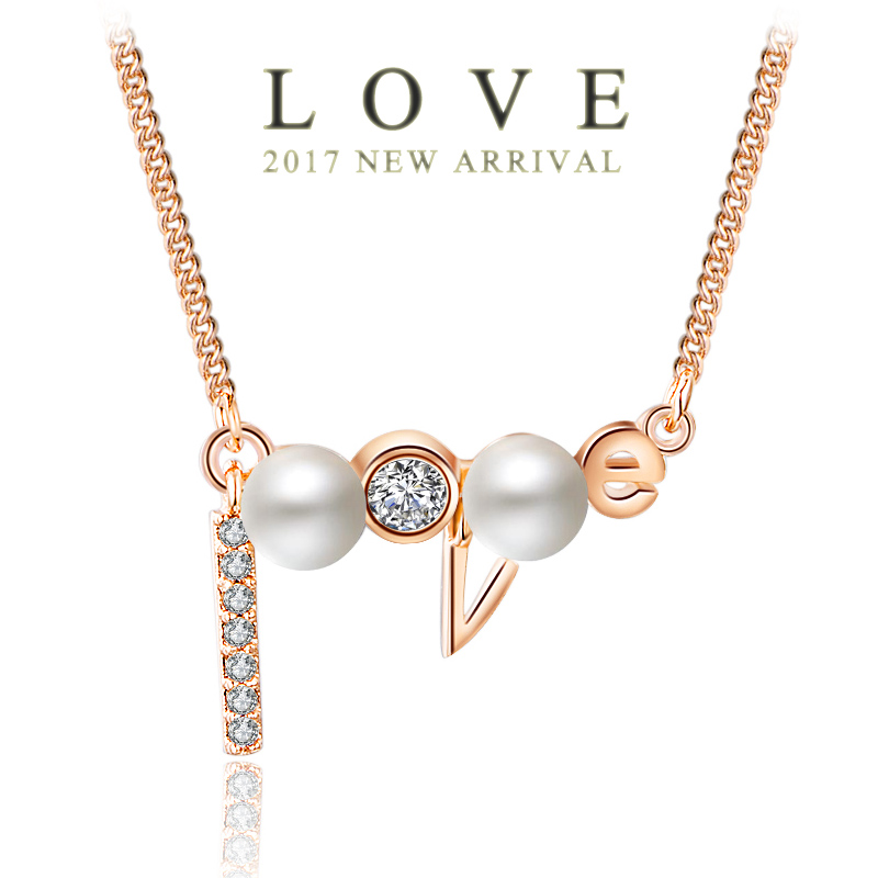 USTAR NEW LOVE WORD Pendant Necklaces for women AAA Zircon Crystal Simulated Pearl Rose gold color Chain choker Necklace Jewelry