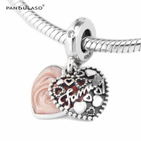 Pandulaso Love Makes A Family Pendants DIY Silver Charms Pink Heart Beads For Jewelry Making Fit