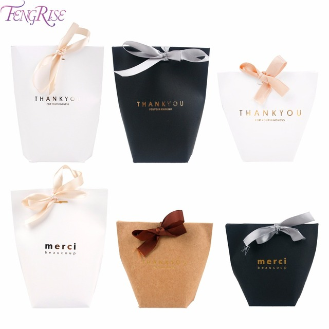 Fengri Merci Beaucoup Black White Wedding Gift Boxes Paper Thank You