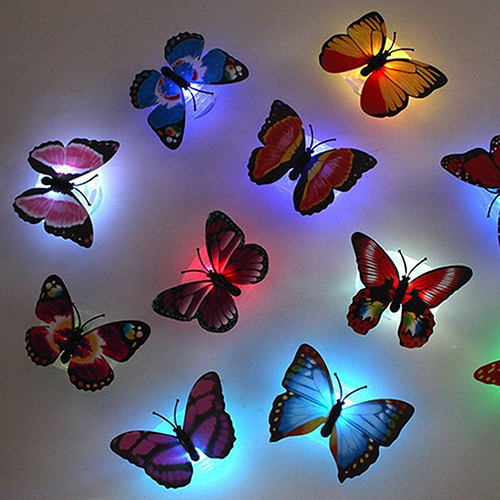 2016 Color Changing Cute Butterfly LED Night Light Home Room Desk Wall Decor