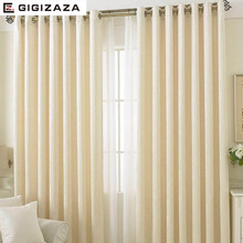 GIGIZAZA imitation cashmere fabric window curtain ivory color black out blinds custom size shade american style for room
