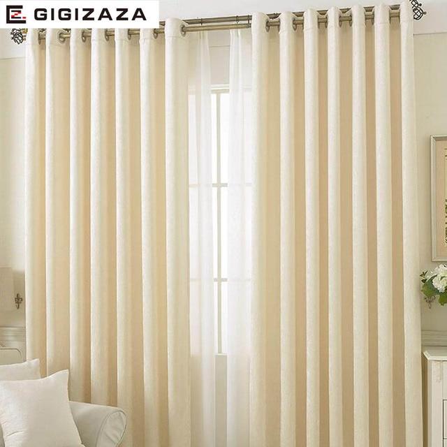 GIGIZAZA Imitation Cashmere Fabric Window Curtain Ivory Color Black Out Blinds Custom Size Shade American Style