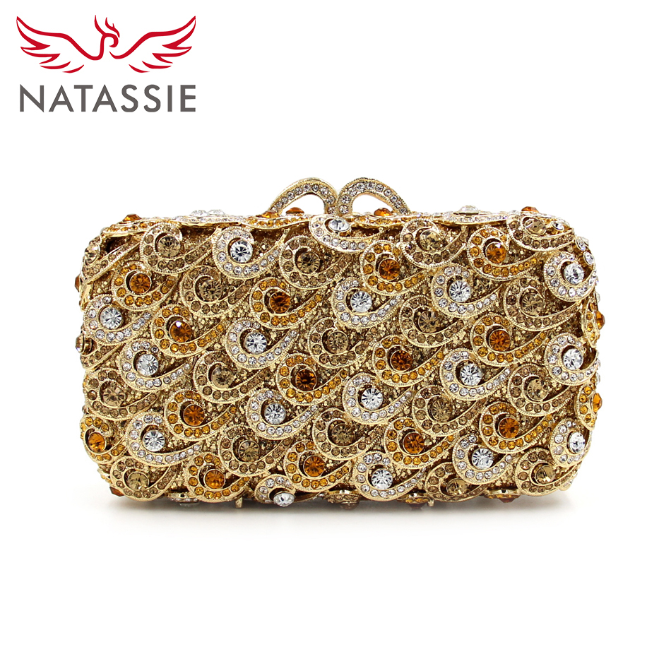 NATASSIE Luxury Women Flower Crystal Casual Day Clutch Bag Ladies High Quality Evening Bag With Chain Wedding Purses natassie new design luxury crystal clutch women evening bag gold red ladies wedding banquet party purses good quality