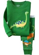 2016 dinosaure coton manches Longues filles bébé enfants vêtements pour enfants définit garçons costumes pyjamas 2 pièce 2-7 ans mode de vêtements de nuit