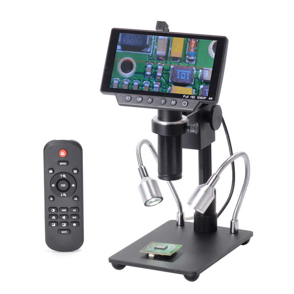 HY-1070 5 Inch Screen 16MP 4K 1080P 60FPS USB & WIFI Digital Industry Microscope Camera 150X C-mount Lens 1/2.3 Imaging Sensor