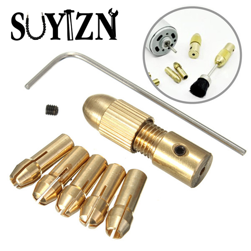 7pcs Mini Drill Bits Collet Mandril Dremel Drill Chucks Adapter Small Electric Drill Accessories Stand Mandrin Perceuse HW209 autotoolhome mini dc 12v electric motor for wood pcb hand drill press drilling 0 5 3mm twist bits and jto chucks bracket stand