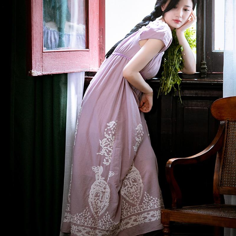 Kadın Giyim'ten Elbiseler'de Kadın Yaz Vintage Mahkemesi Tarzı % 100% Pamuk uzun elbise Bayanlar Retro Zarif Casual Gevşek Nakış Mor/Yeşil/Haki Maxi elbise'da  Grup 1