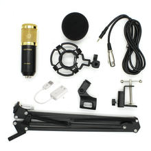 BM800 Computer Microphone 3.5mm Wired Condenser Studio Microphone Set with Arm stand For Studio Recording Broadcasting(China)
