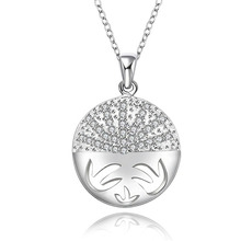 Hot selling new style Christmas Gifts  silver plated  Crystal Necklace Fashion Jewelry Creative Classic round pendant