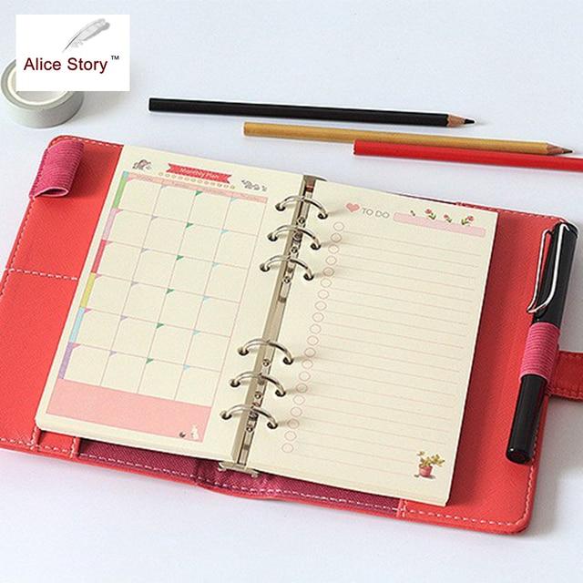 Colorido hermoso cuaderno espiral recarga insertar A5 A6 A7 tamaño Diy diario núcleo interno diario Notebook Accesorios
