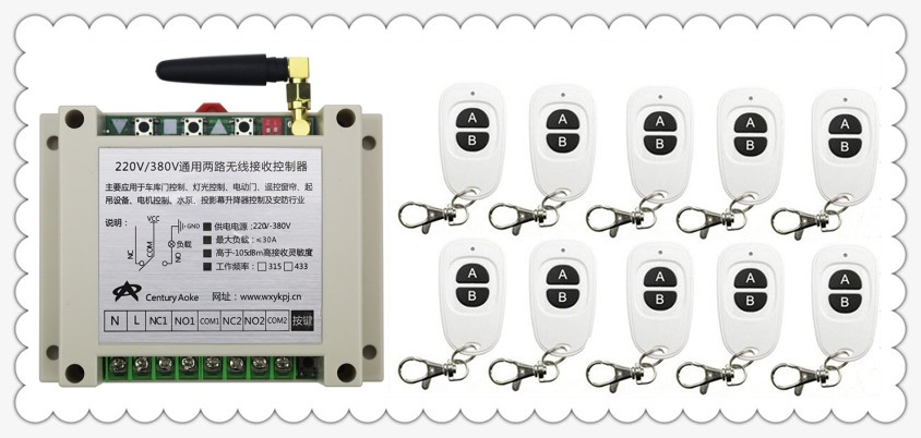 New AC220V 250V 380V 30A 2CH RF Wireless Switch Relay Receiver Remote Controllers & 10pcs  White AB keys Waterproof TransmitterNew AC220V 250V 380V 30A 2CH RF Wireless Switch Relay Receiver Remote Controllers & 10pcs  White AB keys Waterproof Transmitter