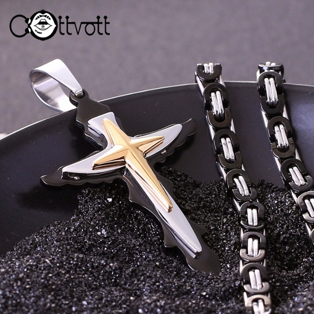 Christian Cross Chain Necklace Byzantine Link Chain for Men Black Gold Color Pendant Wholesale Drop Shipping NZ023