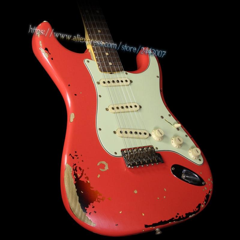 GC Custom Shop Michael Landau Signature 1963 Guitare électrique Fiesta Rouge 3-Tone Sunburst