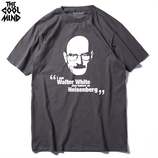 COOLMIND BR0117A Cotton Crewneck Heisenberg Printed Men T Shirt Casual Short Sleeve Breaking Bad Printed T-Shirt For Men Tops