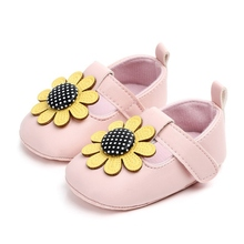 Baby Girls Shoes First Walkers Newborn Lovely Flower Soft Soled Non-slip Footwear PU Baby Shoes hot