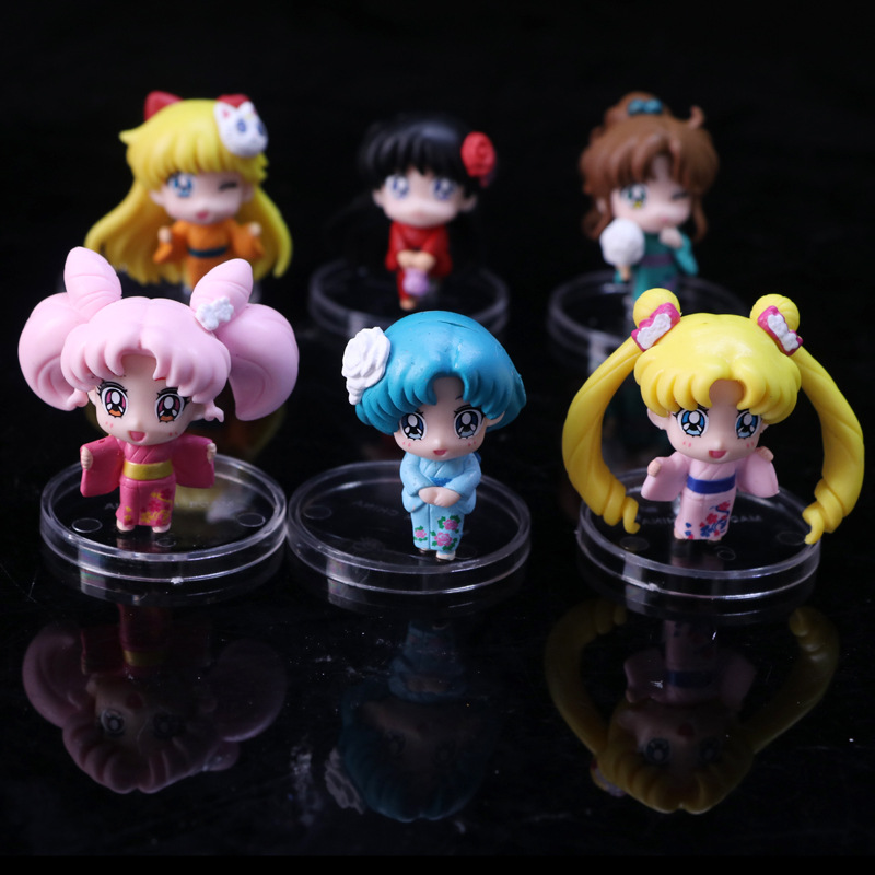 Cartoon Anime Sailor Moon Mars Jupiter Venus Mercury Q Version PVC Action Figure Model Kids Toys Dolls 6pcs/set anime cartoon the good dinosaur arlo spot pvc action figure cliff forrest ivy dolls for children kids gifts 6pcs set