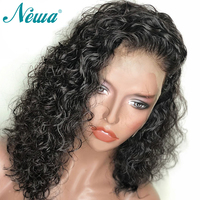 NYUWA Short Human Hair Wigs With Baby Hair Water Wave Lace Front Wigs For Black Women Brazilian Remy Hair Lace Wigs Pre Plucked
