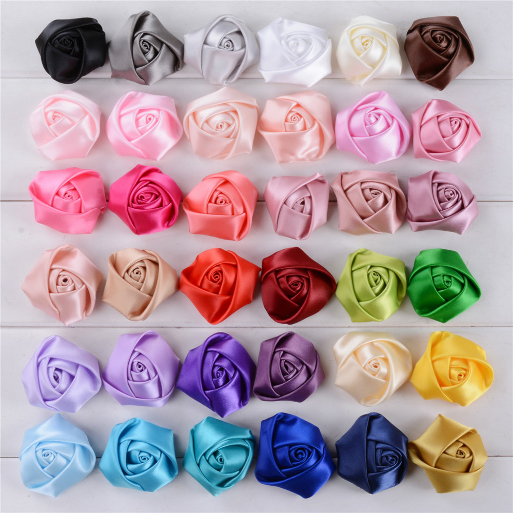 In Stock Satin Flower Rose Bud Hair Accessories DIY Handmade Fabric Flowers Headbands Appliques Garment Accessories AF0019
