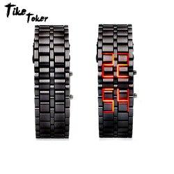 TIke Toker Fashion czarny w całości z metalu cyfrowy zegarek na rękę z lawy żelazny metalowy czerwony LED samuraj dla mężczyzn chłopiec Sport proste zegarki