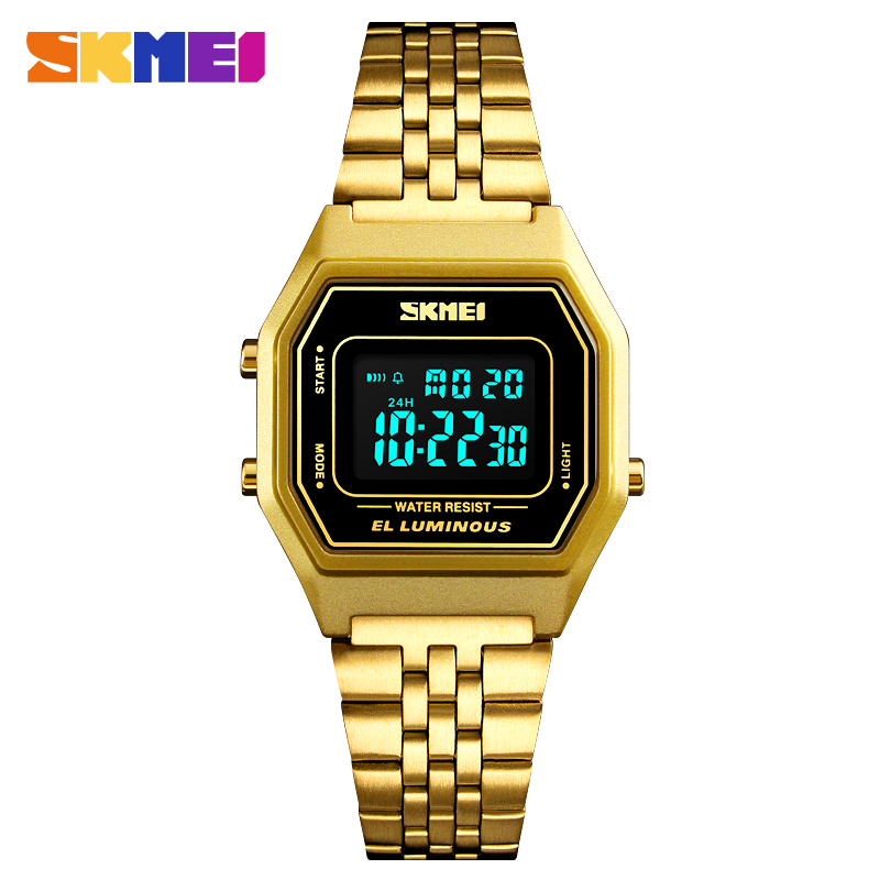 SKMEI Men's Luxury Gold Square Watches Stainless Steel Digital Wristwatches Top Brand Waterproof Alloy Electronic Clock Relogios