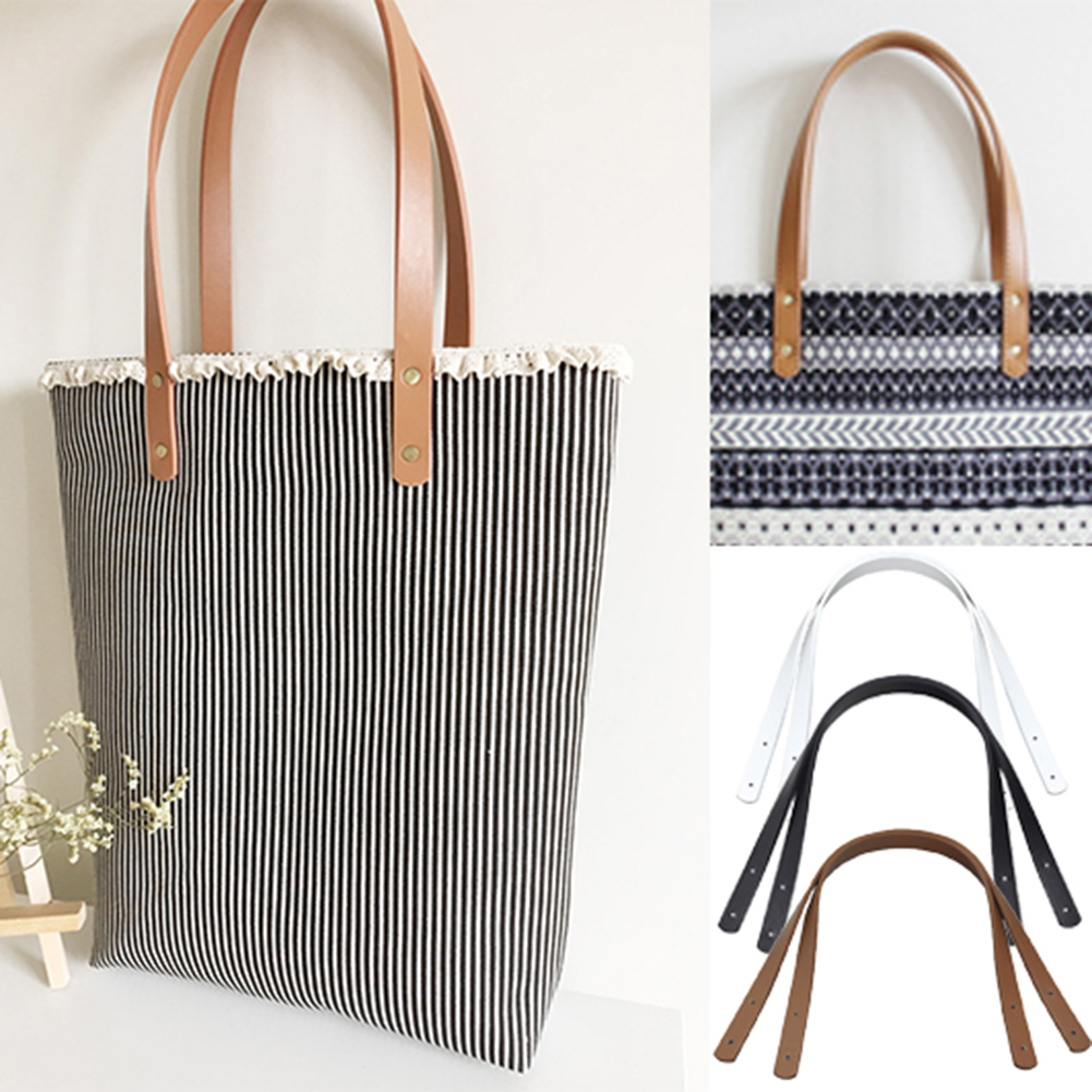 2pcs/pair Fashion 60cm PU Leather Bag Strap Shoulder Bag Belt Band For Women Handbag Handmade DIY Accessories Brown/Black