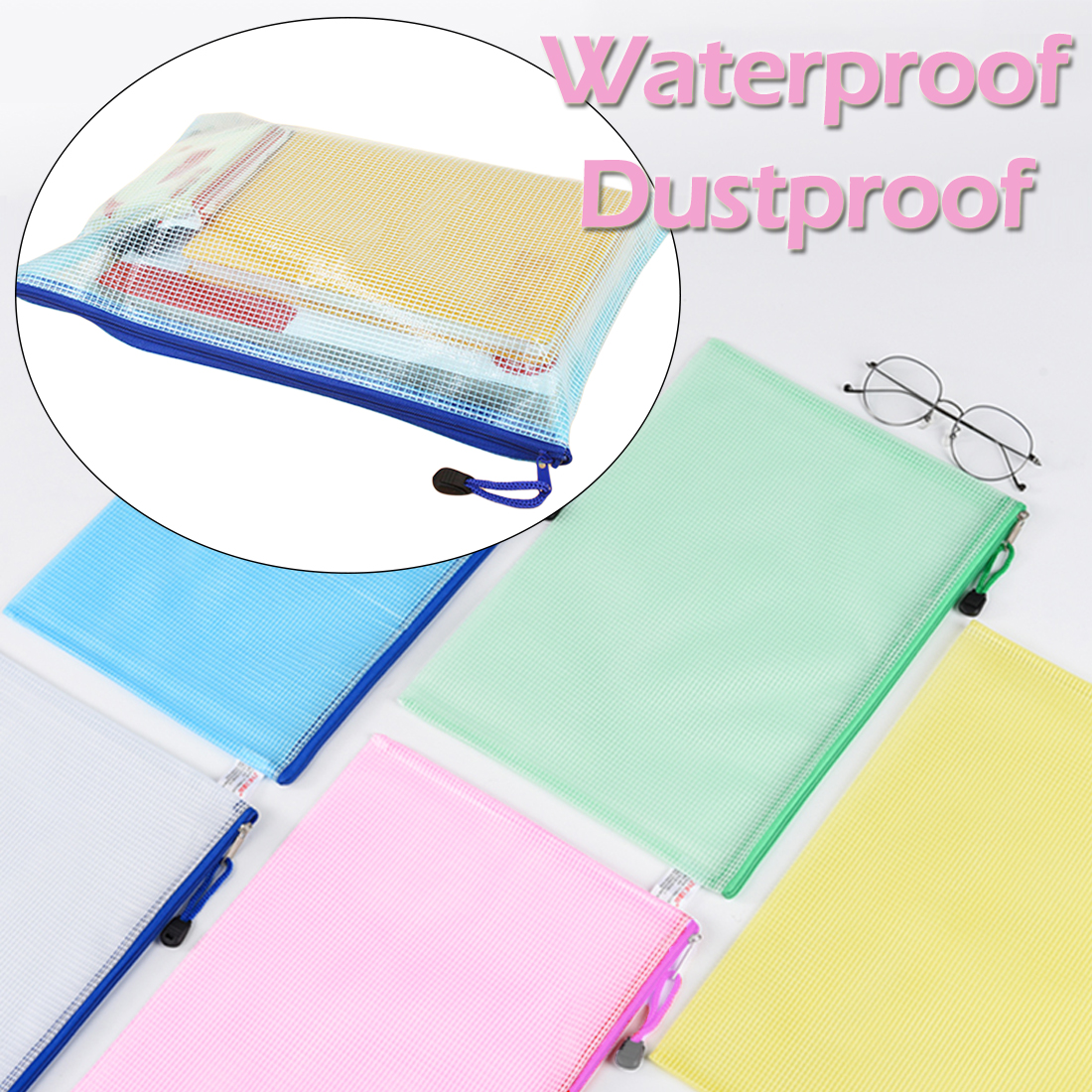 Transparent A4 Size Waterproof Plastic Zipper Paper File Folder Book Pencil Pen Case Bag File Document Bag For Office Students