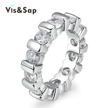 Vissap S925 Round jewelry Rings for women Silver filled engagement punk bague trendy party rings female Bijoux hot new