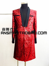 "New Men Singers DJ DS GD Bigbang "" BANG "" Concert Medium-long Red Sequins Suit Costumes Formal Dress Coat ! S-4XL"