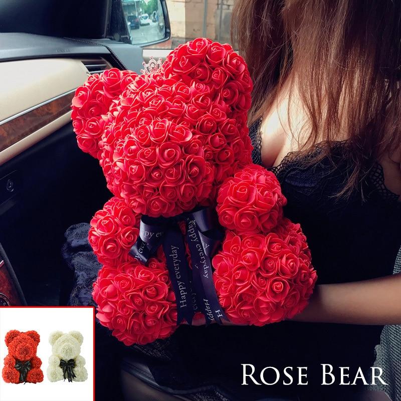 2018 Прямая доставка 40 см большой красный Мишка розы искусственные рождественские подарки для женщин подарок ко Дню Святого Валентина